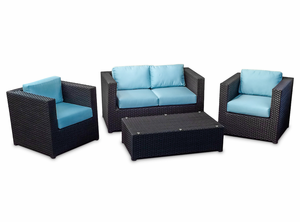 Modern Outdoor Wicker: Set of 4 with Aruba  Sunbrella fabric