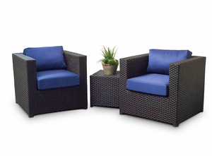 Modern Wicker Seating Group - Sunbrella Fabric