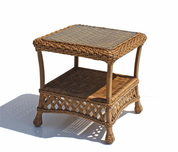 Outdoor Wicker End Table Montauk Natural Wicker Paradise