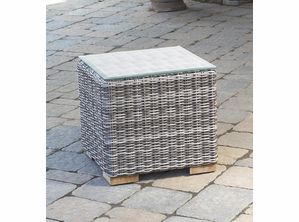 Outdoor Wicker Patio End Table Portofino: Greystone
