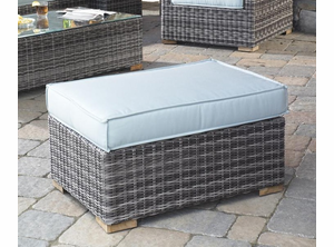 Outdoor Wicker Patio Ottoman Portofino: Greystone