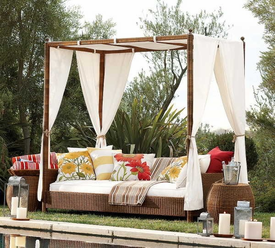 Outdoor Wicker Sofa with Canopy