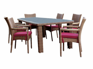 Patio Outdoor Wicker Dining Set of 7 - Santa Barbara