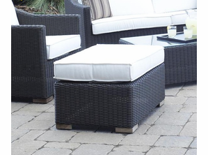 Patio Wicker Outdoor Ottoman Portofino: Black Forest