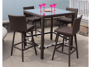 Patio Wicker Swivel Bar Set - Sonoma