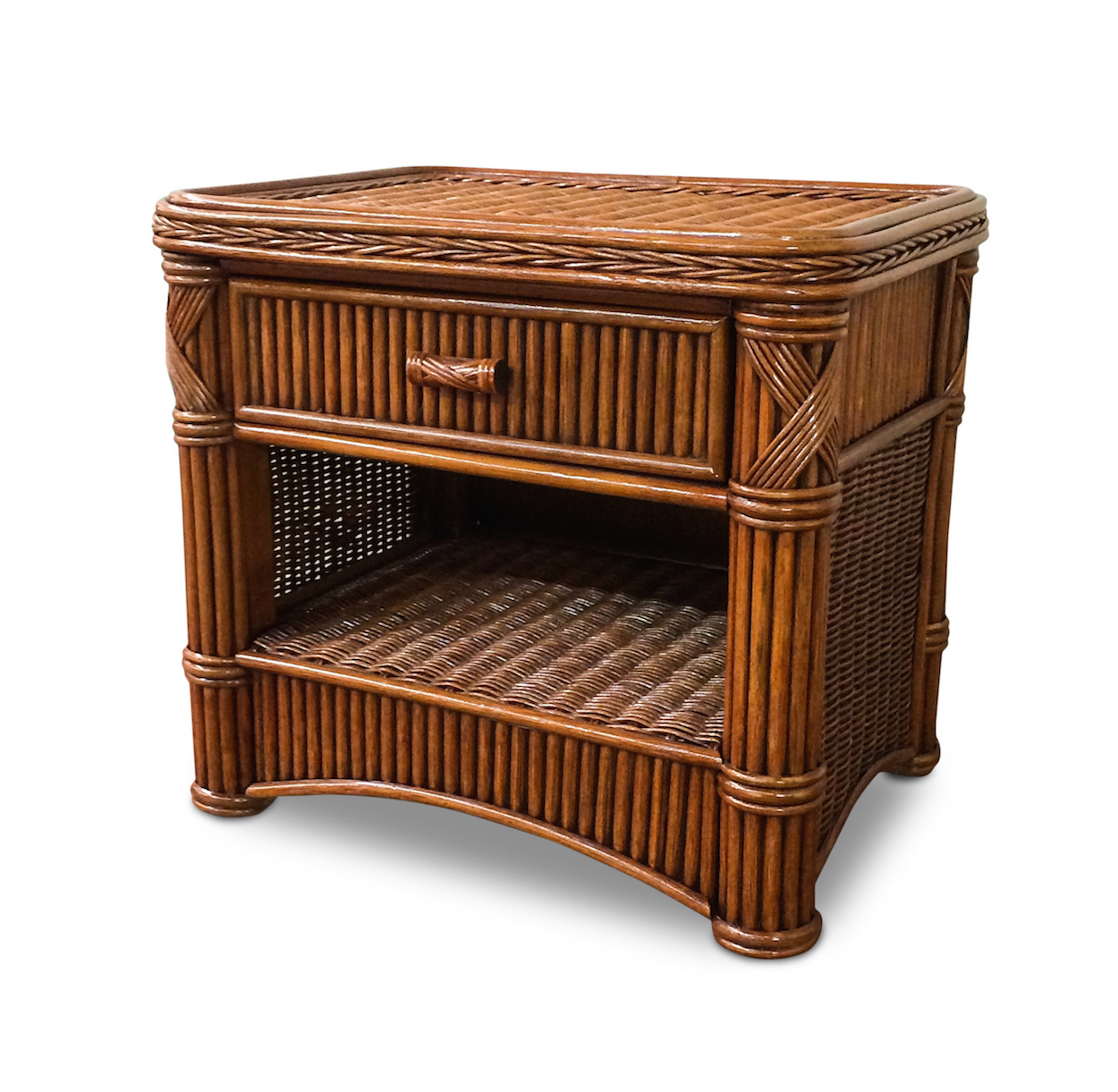 Rattan 1 Drawer Nightstand Barbados Wicker Paradise
