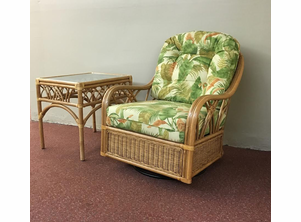 Rattan Chair Glider and End Table