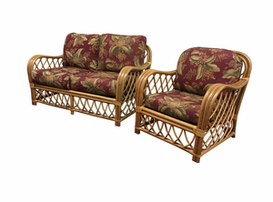 Rattan Loveseat and Chair