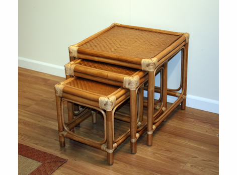 Rattan Stack Tables Set of 3