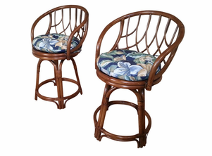 Rattan Swivel Counter Stools Set of 2