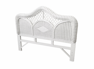 Regency White Wicker Queen Size Headboard