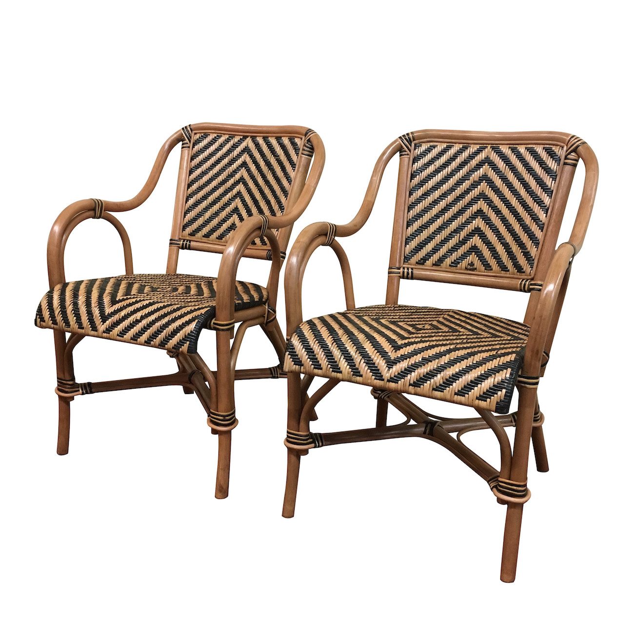 Rattan Dining Chairs: A Pair Of Safari Rattan Dining Arm Chairs
