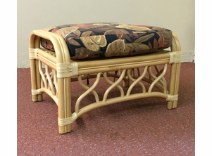 St. Thomas Rattan Ottoman with Cushion