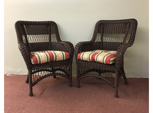 Two Outdoor Wicker Chairs