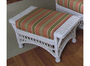 White Bar Harbor Wicker Ottoman
