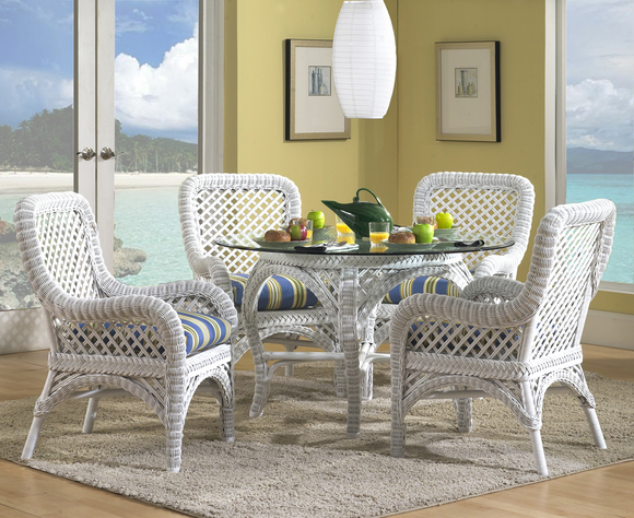 White Wicker Dining Set: Lanai White Wicker