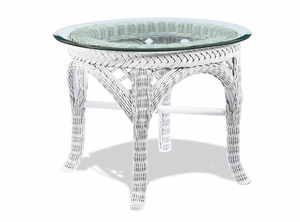 White Wicker End Table - Lanai