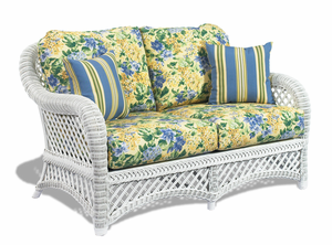 White Wicker Loveseat - Lanai