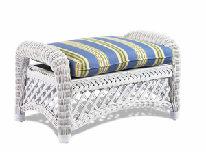 White Wicker Ottoman - Lanai