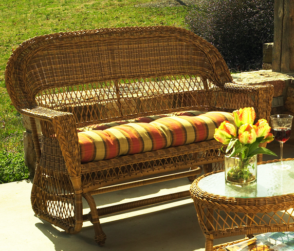 Outdoor Wicker Glider Loveseat: Cape Cod