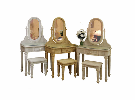 Wicker vanity -mirror-bench