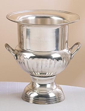 """10"""" Brass Ice Wine Bucket with Handles in Silver Finish Brand Woodland"""