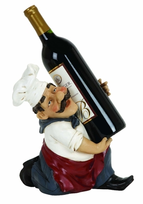 "10"" Cold Cast Resin Fat Chef Running Wine Bottle Holder Brand Woodland"