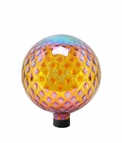 "10"" Glass Gazing Globe - Amber with Diamond Pattern by Alpine Corp"