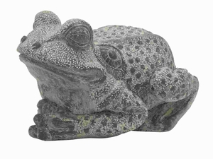 "10"" H Ceramic Frog with Attractive and Distressed Gray Finish Brand Woodland"
