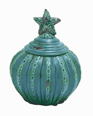 """10""""H Ceramic Jar with Star Shaped Design and Glossy Finish Brand Woodland"""