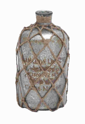 "10"" H Glass Jute Bottle Polished Surface with A Silver Coat Brand Woodland"