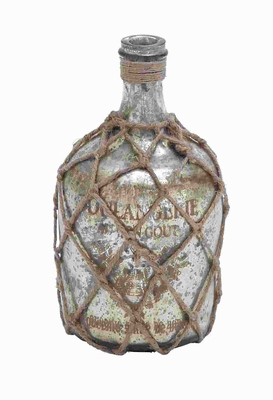 "10""H Glass Jute Bottle with Inner Layer Is Coated in Silver Color Brand Woodland"