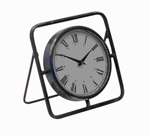 """10""""H Metal Clock with Bright Dial and Roman Numeral Display Brand Woodland"""