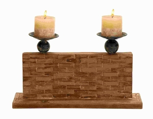 "10""H Wood Candle Holder with Vertical Rectangular Stand Brand Woodland"