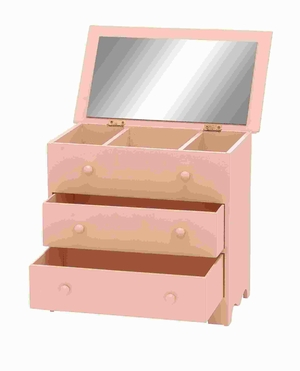 "10""H Wood Jewelry Box in Dainty Pink Color with Attractive Design Brand Woodland"