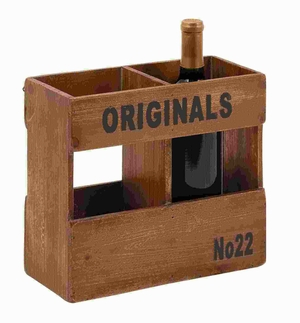 """10""""H Wood Wine Holder in Natural Finish with Distinctive Style Brand Woodland"""