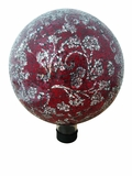 "10"" Mosaic Glass Gazing Globe with Flower Pattern - Red by Alpine Corp"
