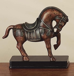 "10"" Polyresin Hand Carved Tang Horse Statue in Brown Finish Brand Woodland"