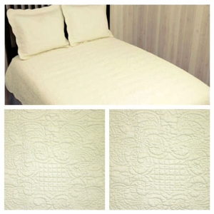 100% Cotton Filled Harmonious Mist Ivory Queen Size Quilt by American Hometex