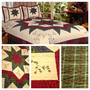 100% Cotton Filled Morning Star Queen Size Quilt by American Hometex