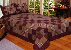 100% Cotton Filled Queen Size Primitive Squares Quilt in Maroon by American Hometex