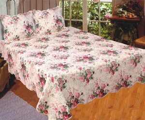 100% Cotton Filled Queen Sized Quilt in Chinese Rose Pattern by American Hometex