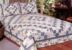 100% Cotton Filled Romantic Garden Queen Size Quilt by American Hometex