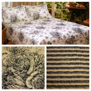 100% Cotton French Country Black Sham by American Hometex