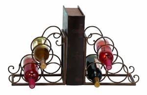"""11"""" Antiqued  Vintage Appeal Library Metal Wine Rack and Bookend Brand Woodland"""