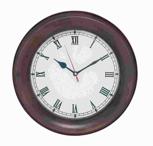 """11""""D Sturdy Metal Wall Clock with Thick Dark Metal Frame Brand Woodland"""