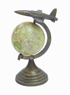 "11"" H Aluminium Globe with Sturdy Round Base & Aircraft on Top Brand Woodland"