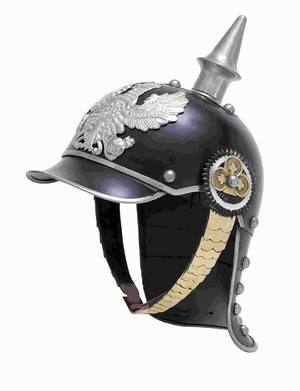 "11""H Brass Helmet Glazed in Black with Silver Metallic Trinkets Brand Woodland"