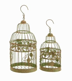 """11""""H Metal Birdcages in Dull Gold Antique Polish (Set of 2) Brand Woodland"""