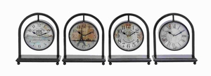 Metal Desk Clock Assorted in French Style (Set of 4) - 92202 by Benzara